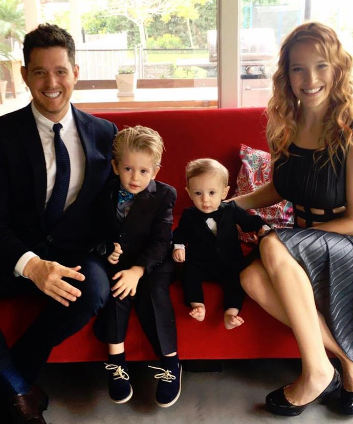 Michael and wife Luisana Lopilato with their two boys, Noah and baby Elias.