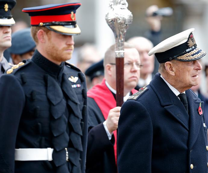 The 32-year-old joined his grandfather Prince Philip, 95, at the Field of Remembrance at Westminster Abbey in London.