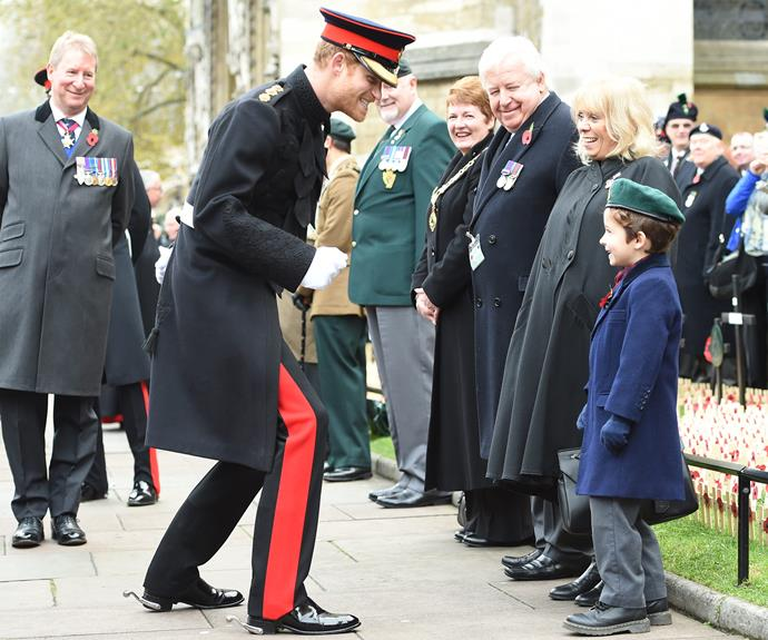 The redheaded royal was charmed by six-year-old Harrison Degiorgio-Lewis, whose uncle Lieutenant Aaron Lewis was killed in December 2008.