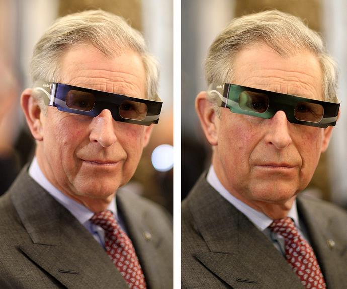 In a comical pair of 3D glasses, the Prince watches a scientific presentation at the Hungarian Academy of Sciences in Budapest.