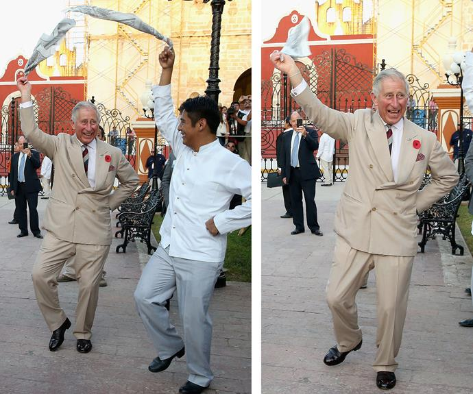This royal thrives on the dance floor as he takes part in traditional Mexican clog dancing on a 2014 tour to Mexico.