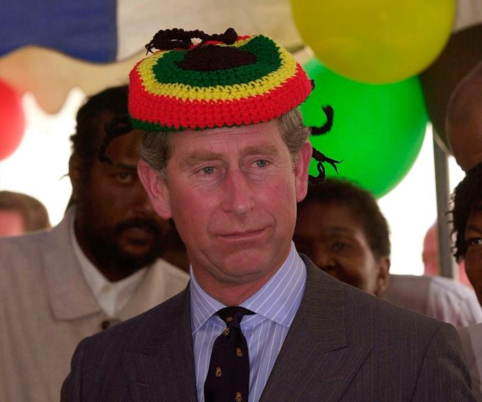 While visiting Jamaica, Charles was presented with a Rastafarian Tam hat by Bob Marley's wife Rita.