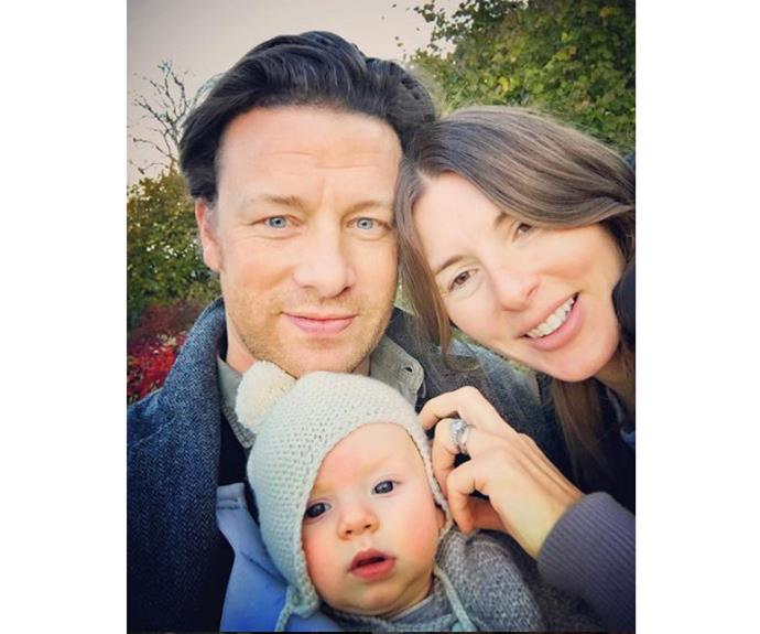 "Celebrity chef Jamie Oliver was stoked to be reunited with his wife Jools and newborn bub River Rocket after a busy few days. ""Back with the gang now chilling and cooking today....raining cats and dogs,"" he shared."