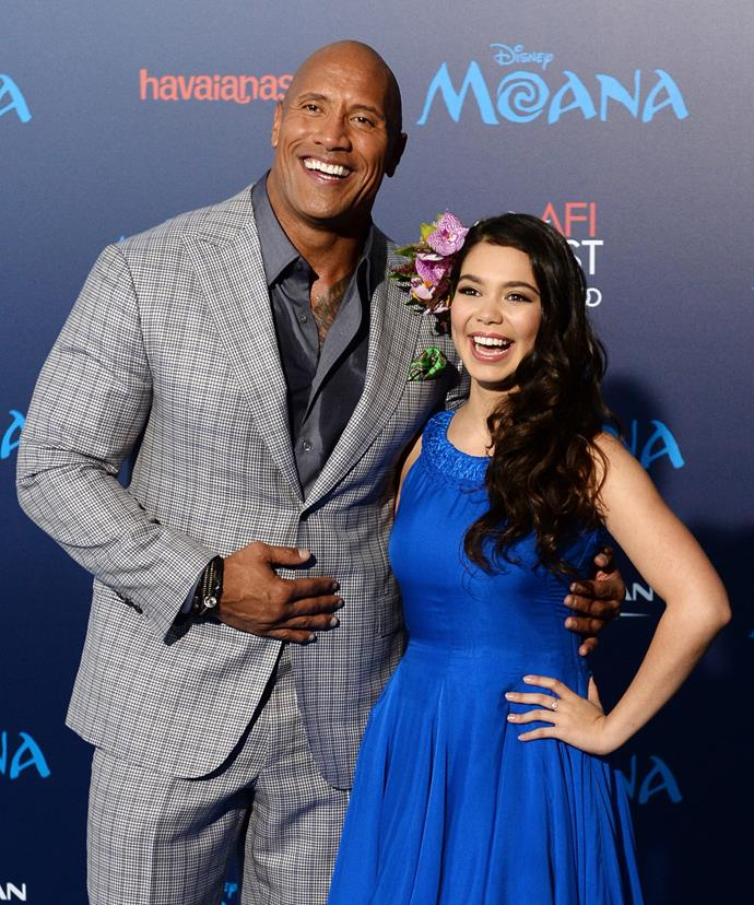 The Rock with his *Moana* co-star Auli'i Cravalho.