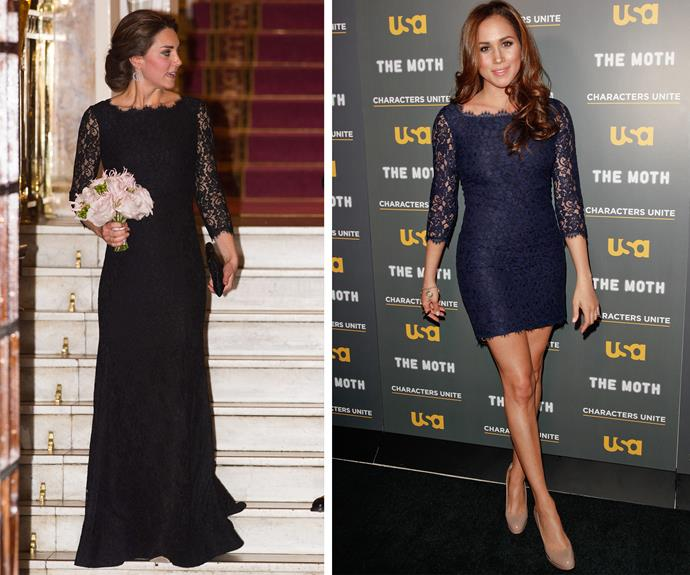 Kate opted for a more formal look when she wore the gown in 2014 for the Royal Variety Performance, while Meghan showed off her pins as she stepped out for the 2012 USA Network event in Hollywood.