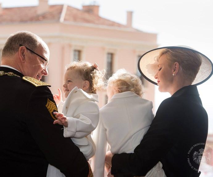 A grand entrance! The Monaco Royal Family greet the public from the palace balcony (Pic via/Palaismonaco Facebook)