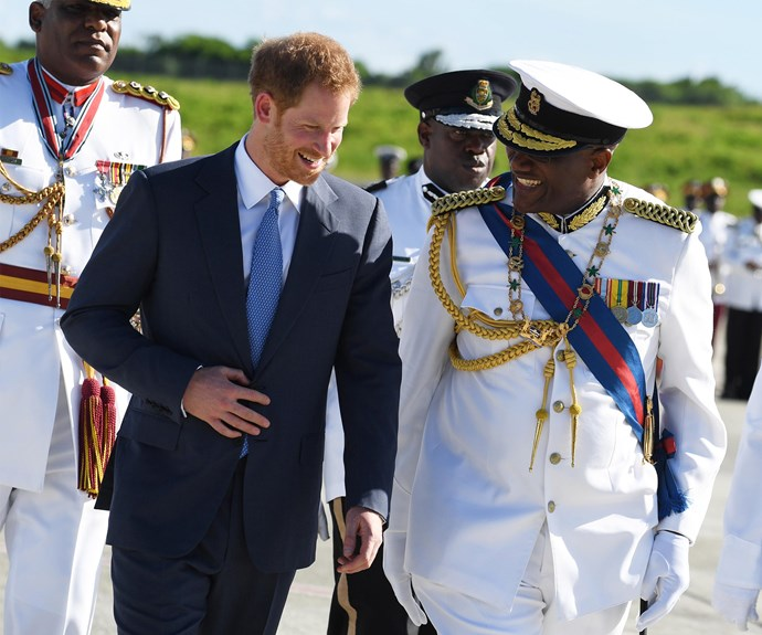 Harry was greeted by the Governor General His Excellency Sir Rodney Williams.