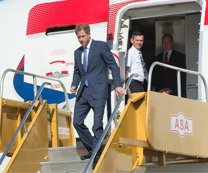 Touchdown! Prince Harry arrived at VC Bird International Airport in Antigua, flying a commercial British Airways flight.