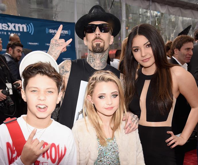 Blink 182's Travis Barker with his kids Alabama Luella Barker, Landon Asher Barker and step-daughter Atiana de la Hoy.