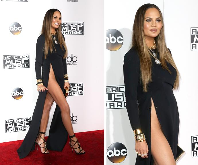 Hello Mama! Chrissy Teigen put her legs on show as she stepped out in a stunning (and very risky) black dress.