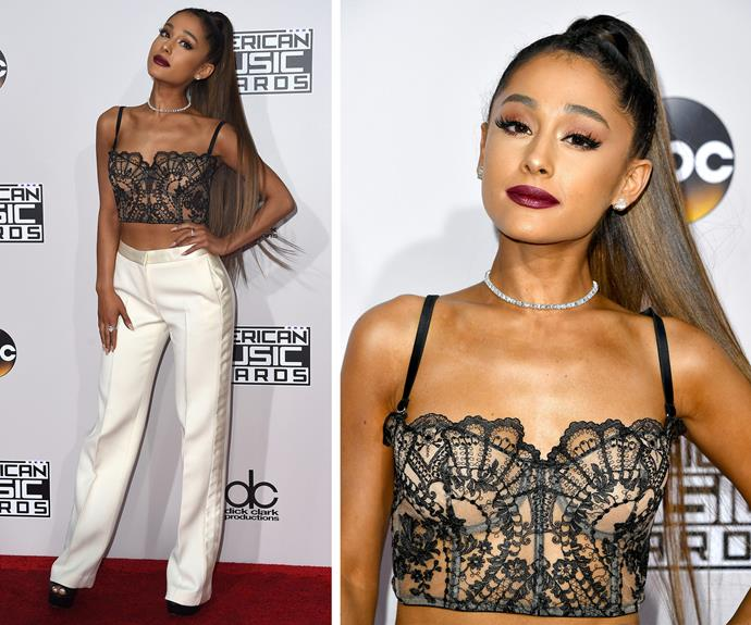 Ariana Grande suits up for the big night.