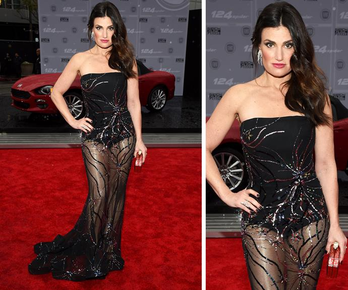Nope, not letting it go! Idina Menzel channels her inner Disney princess in a strapless, embellished frock.