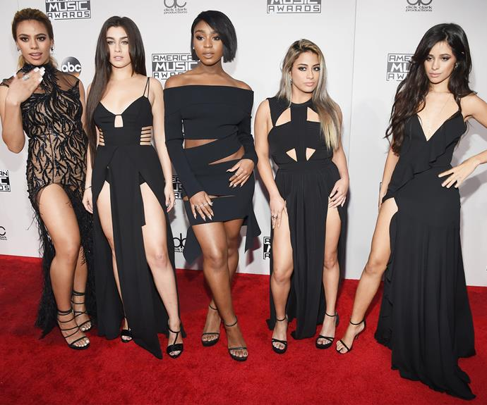 Girl band, Fifth Harmony, unite in black.