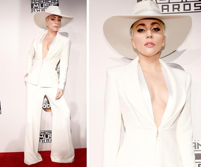 Lady Gaga was the perfect illusion in a white power suit.