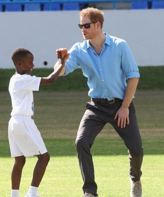 The prince made sure he spoke to as many kids as possible.