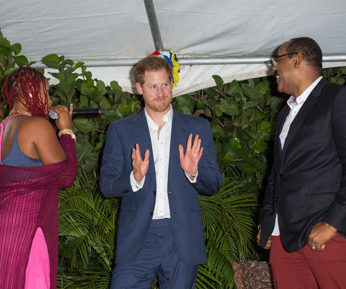 """The previous night, Prince Harry was left rather uncomfortable after Antiguan Prime Minister Gaston Browne teased Prince Harry about his """"honeymoon"""" with Meghan Markle."""