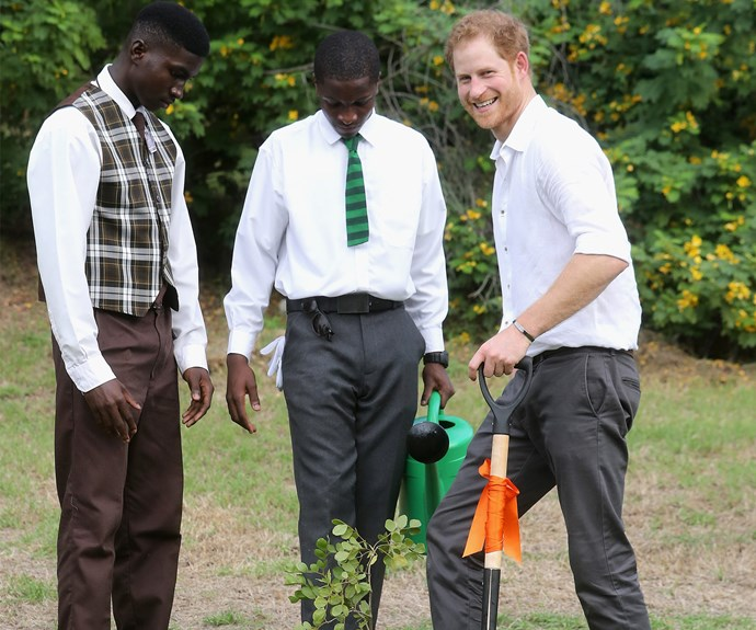 He planted trees to mark the dedication of the Queen's Commonwealth Canopy.