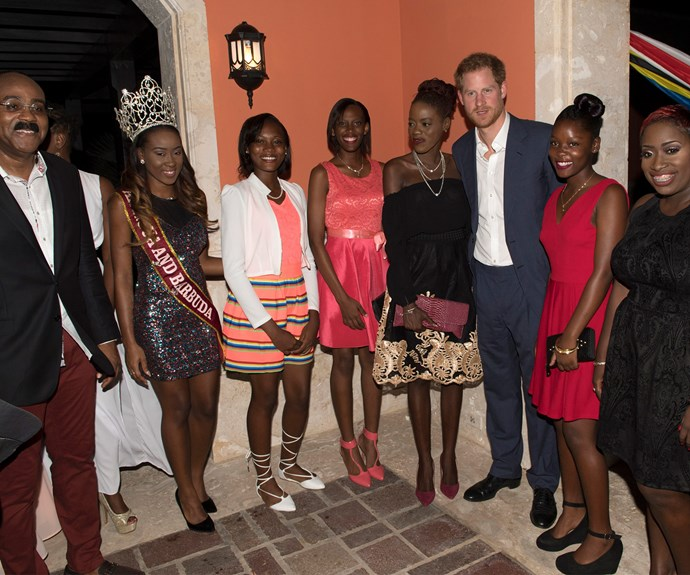 Prince Harry joked that he needed the PM to join him when taking snaps with the beauty queens.