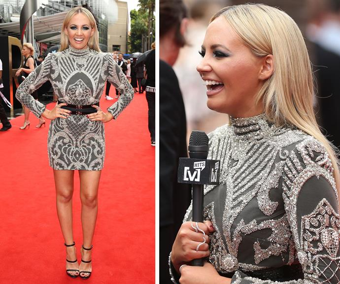 Samantha Jade stunned in an embellished number with slick, blonde locks.