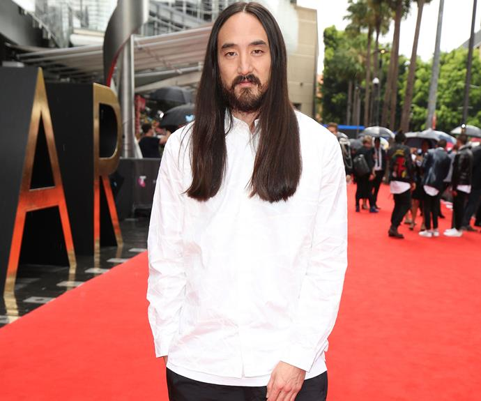 Steve Aoki says he's also here to support his mate Flume, who is nominated for a whopping 11 awards tonight!