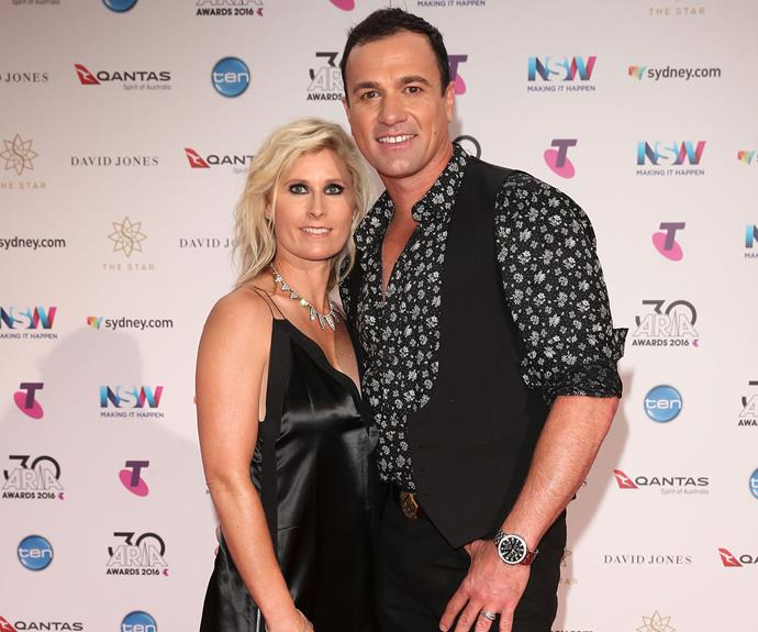 The former Australian Idol contestant with wife Rochelle.