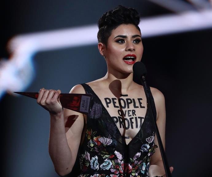 Oh dear! Montaigne rambled about going to the loo during her acceptance speech.