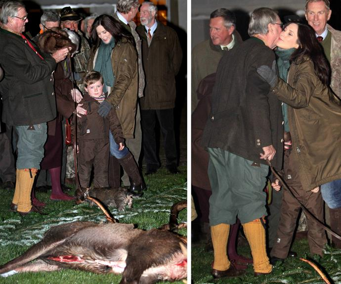 Mary takes her eldest, Prince Christian, to the 2010 hunt.