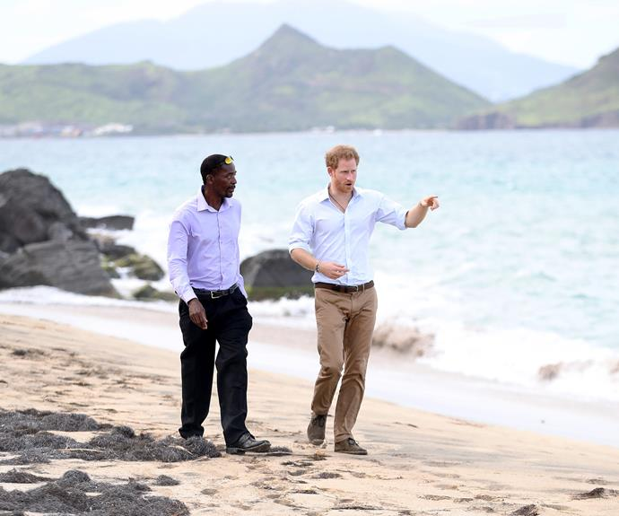 Following the release of the turtles, the 32-year-old enjoyed a stroll on Lovers Beach.