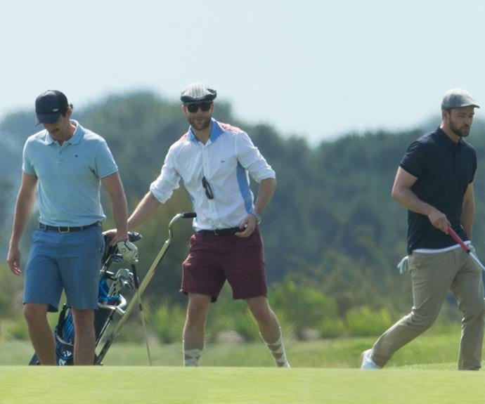 During their round of golf, the lads playfully heckled each other.