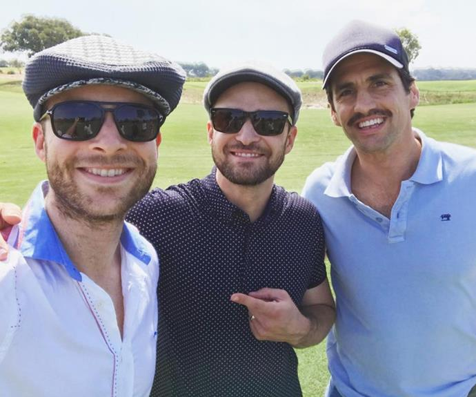 The three musketbeards! The radio royalty show off their blossoming beards with singer Justin Timberlake.