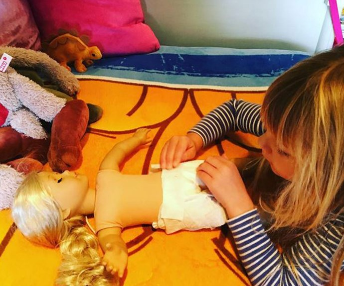 "Look who's reporting in for big sister duty! Fresh from announcing [her second pregnancy,](http://www.womansday.com.au/celebrity/hollywood-stars/pink-expecting-baby-number-two-with-husband-carey-hart-17078) Pink has shared this adorable shot of her daughter Willow trying out her hand at this big sister stuff. ""Dry runs,"" the singer joked."