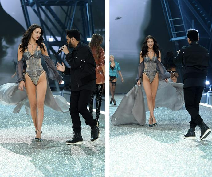 The 'It' girl and her former flame, The Weeknd, ignite sparks on the catwalk.