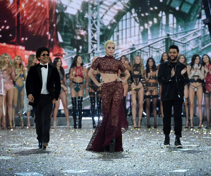 Show performers Bruno Mars and The Weeknd make their second return to the VS stage while Lady Gaga makes her glamorous debut.