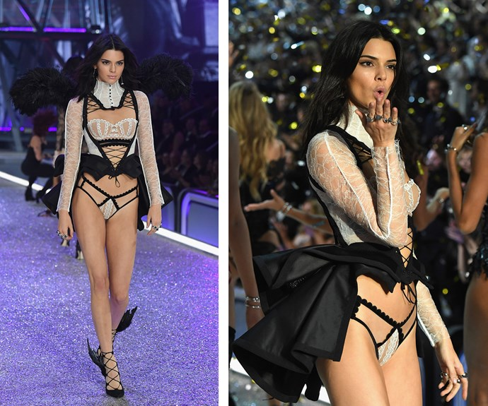 Kendall makes a regal return in a monochromatic lace number.
