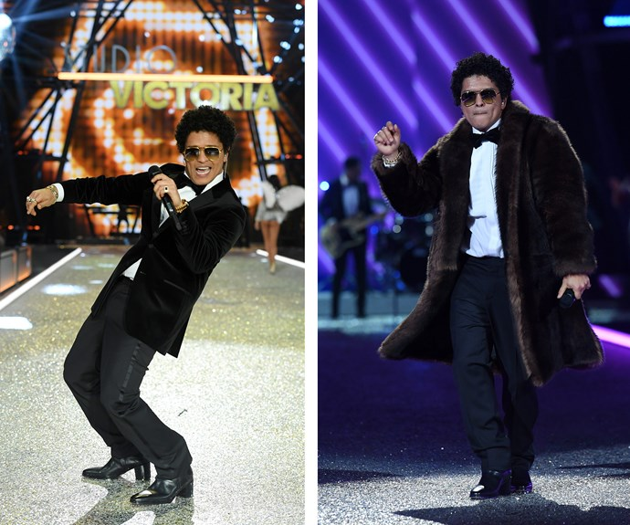 Bruno Mars shows off his killer moves.