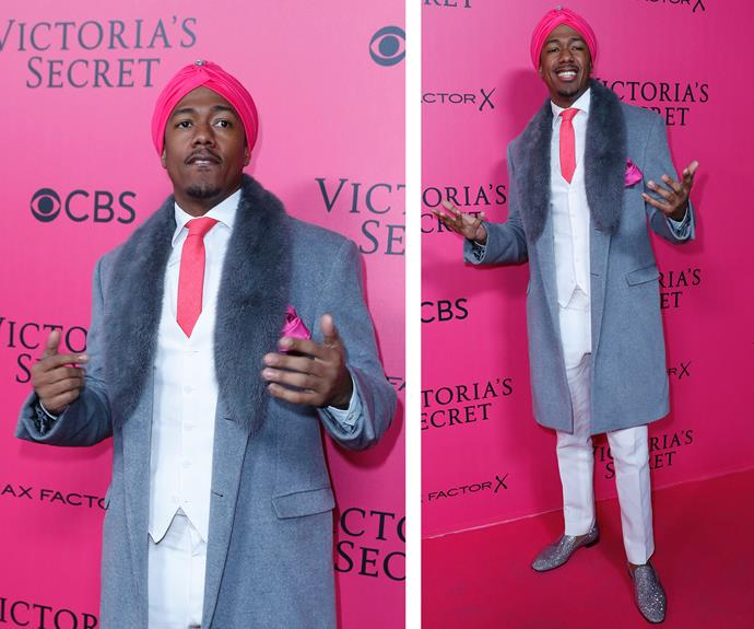 Guest Nick Cannon sure got the dress-code memo! The star dons his very best pink get-up, teamed up with on-trend glittery shoes.