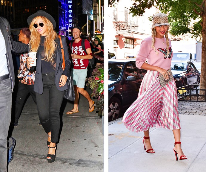 Queen Bey slays in all seasons, but we're loving her pretty-in-pink, playful get-up.