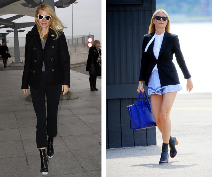 Gwyneth Paltrow maintains her classic, structured look, but summerfies it with bright blue short-shorts. Love!