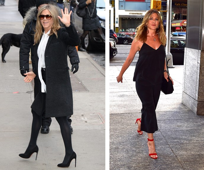 While she likes to keep things simple in head-to-toe black, Jenifer Aniston is no stranger to shaking things up with some statement accessories.
