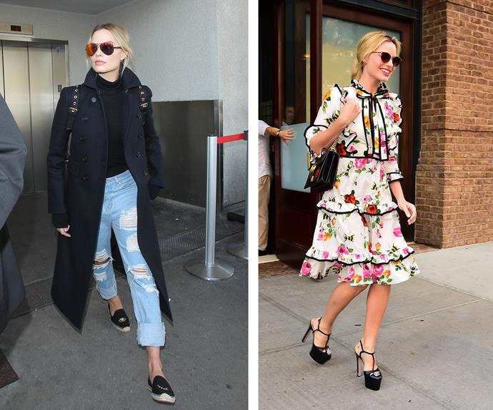 Margot Robbie ditches the dark and rings in summer with a frock full of florals.