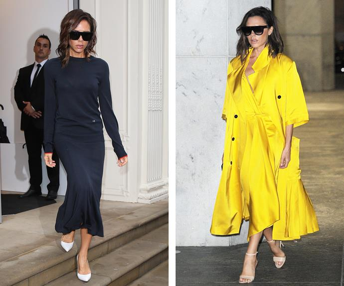 She knows what works for her and she's sticking to it! Victoria Beckham is rather partial to a good midi dress and block shades, but in summer, the former Spice Girl loves to brighten up her look.