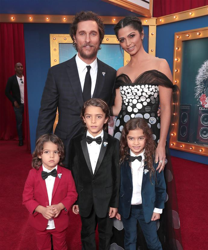 Matthew McConaughey and Camila Alves posed up with sons Levi, Livingston and daughter Vida.