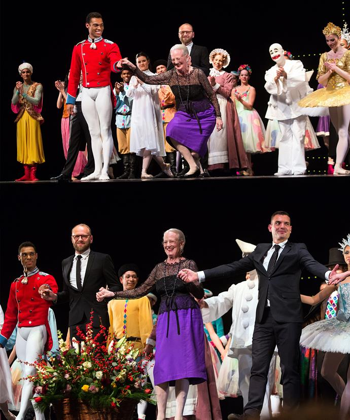 At the end of the performance, Queen Margrethe was greeted with applause and cheers as she joined the cast, choreographer, and lighting designer onstage.
