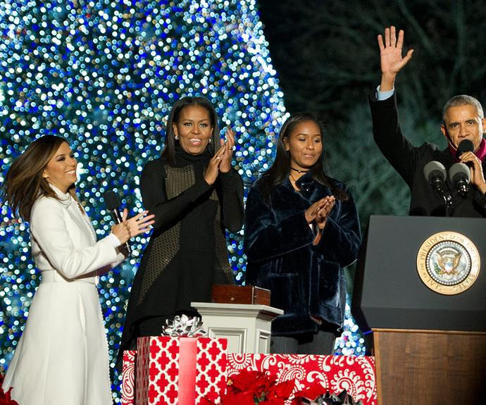 Let there be light! President Obama, his daughter Sasha, wife Michelle and actress Eva Longoria attend the 94th annual Christmas tree lighting ceremony, which was held at the President's Park in Washington, DC.