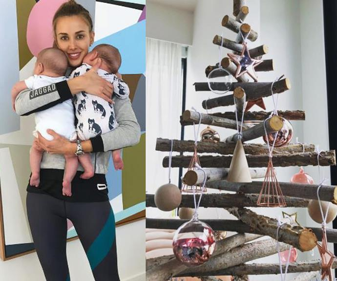 """With two twin sons to look after, this year Bec Judd did away with tradition and opted for an eco tree made up of recycled branches. The mum-of-four's [choice divided fans](http://www.aww.com.au/christmas/christmas/bec-judd-shows-off-her-unique-family-christmas-tree-29974