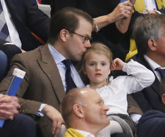Prince Daniel and Princess Estelle enjoyed a lovely daddy-daughter day, as they supported the Swedish national women's handball team.
