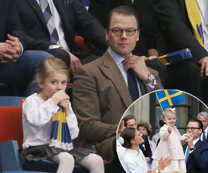 The four-year-old had crowds delighted as she cheered on with her dad. Mum Crown Princess Victoria was at home with Estelle's 9-month-old baby brother, Prince Oscar.