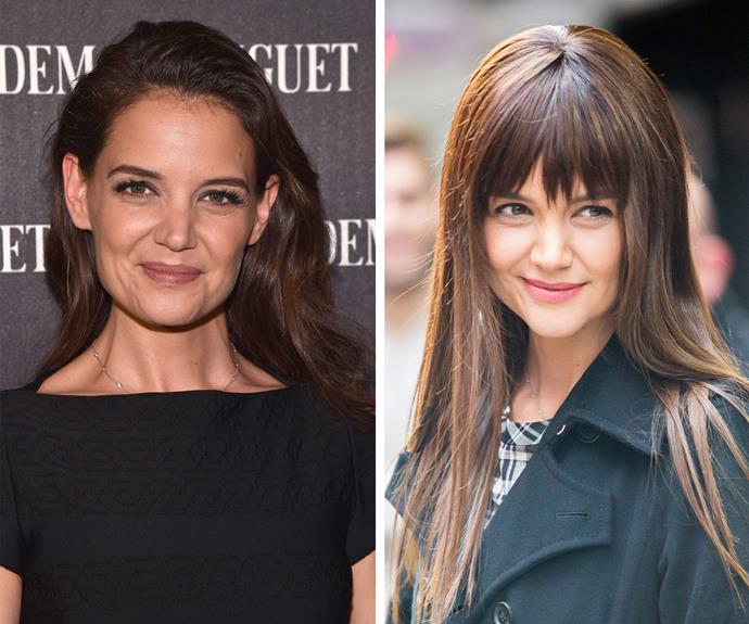 "Katie Holmes has jumped on the bangwagon... sort of. After sporting silky sleek tresses for last couple of years, the star this week stepped out donning a faux fringe. While her new 'do isn't permanent, the mother-of-one allegedly plans to make the chop upon wrapping current filming commitments. Speaking to [*People,*](http://people.com/style/katie-holmes-gets-bangs/ Katie's hairstylist|target=""_blank""