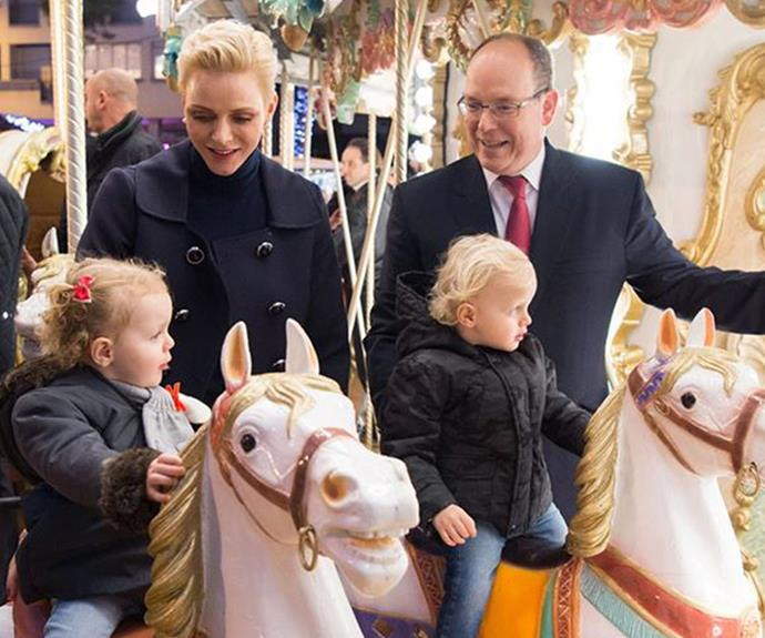 Adorable indeed! Here Charlene can be seen alongside her husband Prince Albert and their two children.