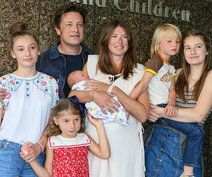 In August, little River Rocket joined Jamie Oliver and wife Jools' four other children, Poppy Honey Rose, Daisy Boo Pamela, Buddy Bear Maurice and Petal Blossom Rainbow.